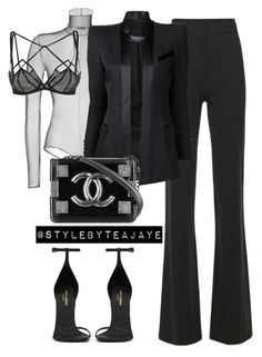 """""""Untitled #1855"""" by stylebyteajaye ❤ liked on Polyvore featuring Derek Lam, Akris, Agent Provocateur, Balmain, Chanel and Yves Saint Laurent"""