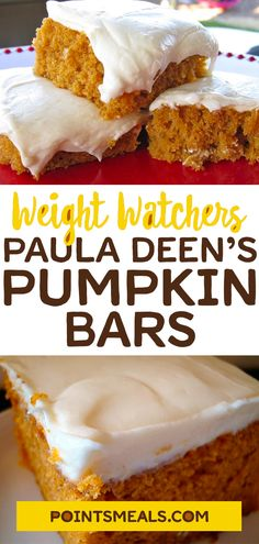 Paula Deen's Pumpkin Bars Paula Deen's Pumpkin Bars Recipes Weight Watchers Pumpkin, Weight Watchers Diet, Weight Watcher Dinners, Weight Watchers Desserts, Ww Desserts, Healthy Desserts, Delicious Desserts, Dessert Recipes, Yummy Food