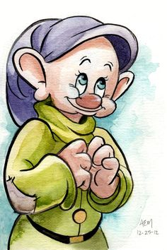 Once, on his way home from school, he found a little Dopey figurine in a trashcan and-- not knowing anything about Dis. Disney Character Drawings, Disney Drawings Sketches, Disney Cartoon Characters, Cute Disney Drawings, Cartoon Art, Disney Images, Disney Pictures, Disney Art, Walt Disney