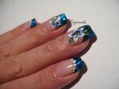 http://www.youtube.com/cajanails Blue foil French with flowers by Cajanails