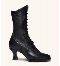 Modern Victorian Lace Up Leather Boots in Black Oak Tree Farms Modern Victorian Fashion, Rococo Fashion, Gothic Fashion, Wrap Heels, Lace Up Heels, Victorian Boots, Victorian Outfits, Gowns Of Elegance, Vintage Style Dresses