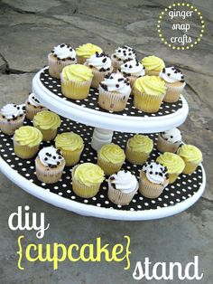 DIY cupcake stand...good concept. Might try to add a third tier.