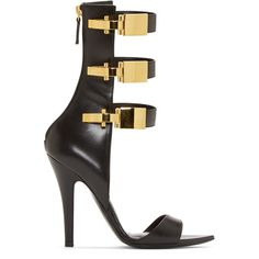 Versus Black Leather Calf-High Anthony Vaccarello Edition Sandals (€475) ❤ liked on Polyvore featuring shoes, sandals, heels, high heels, high heel shoes, strappy sandals, leather strap sandals, strap sandals and black leather sandals