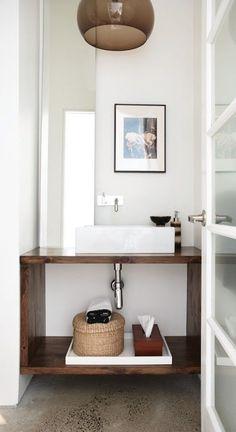 warm modern powder room: