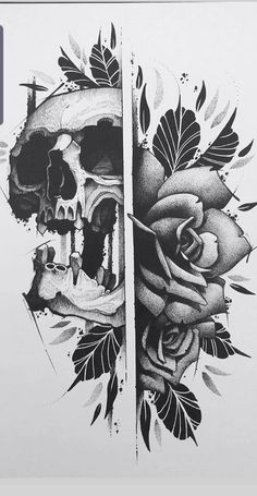 Skull Tattoo Flowers, Skull Rose Tattoos, Flower Tattoos, Skull Tattoo Design, Skull Design, Tattoo Designs, Tattoo Ideas, Tattoo Sketches, Tattoo Drawings