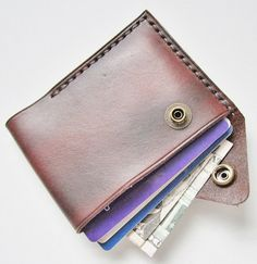 Leather Wallet Mini Wallet Leather Card Holder by johnbrandonusa