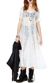 Summer White V-neck Loose Chiffon Lace See-through Long Dress