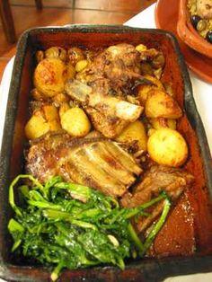 cabrito assado no forno Goat Recipes, Chicken Recipes, Cooking Recipes, Meet Recipe, Pork And Beef Recipe, Portuguese Recipes, Portuguese Food, Exotic Food, Meat Recipes