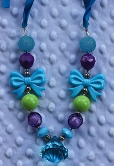 Chunky Gumball Necklace - Turquoise and Purple with bows