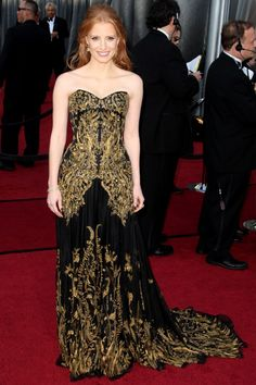 Jessica Chastain in Alexander McQueen, 2012 Oscars. Beautiful dress!