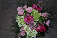 Maid of Honor Bouquet...pink roses, green hydrangea, wax