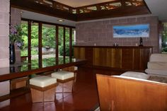 Interior of the Frank Lloyd Wright-designed Brandes Residence in Sammamish. Photo: EcoHome Foundation