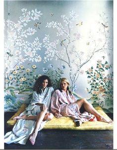Gracie Studio hand-painted wallpaper, seen in Nylon Magazine