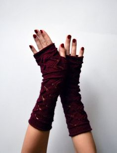 Dark Red Lace Knit Fingerless Gloves  Lace Fingerless by lyralyra