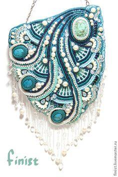 """Сумочка """"Бегущая по волнам"""" - морская волна,орнамент,бисерная сумочка"""