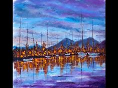 How to paint Night seascape with boats ★ Step by Step ★ Valery Rybakow