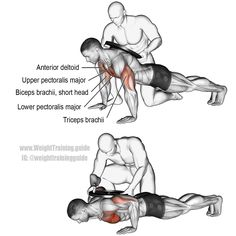 Weighted push-up. A compound exercise. Synergists: Upper Pectoralis Major, Anterior Deltoid, and Triceps Brachii. Dynamic stabilizer: Biceps Brachii (short head only). (Dynamic Stretching For Men) Killer Chest Workout, Chest Workouts, Fit Board Workouts, Chest Exercises, Pnf Stretching, Dynamic Stretching, Gain Muscle, Bodybuilder, Workout Exercises