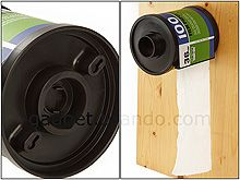Film Canister Toilet Paper roll holder. This is completely amazing!