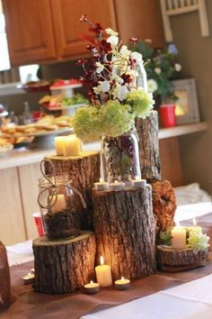 Fun autumn wedding table centerpiece! Fill this centerpiece with candles and florals from Old Time Pottery! http://www.oldtimepottery.com/