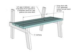 Free, easy, step by step plans to build a picnic table that converts easily to two separate benches. The tabletops rotate to form bench backs. Detailed plans give you step by step instruction to build this multi-use outdoor staple for your deck or patio. Folding Picnic Table Plans, Build A Picnic Table, Folding Tables, Picnic Tables, Diy Furniture Easy, Furniture Plans, Wooden Furniture, Outdoor Furniture, Ana White