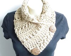 Crochet Cowl PATTERN / Scarf With Button / by CrystalBearDesigns