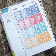 Nautical Theme Half Boxes Sticker Planner // Perfect for Erin Condren Life Planner by FasyShop on Etsy