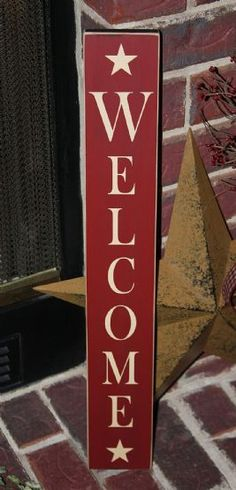 Vertical Welcome Sign Country Decor, Country Signs, Americana Crafts, How To Make Signs, Woodworking Inspiration, Wood Canvas, Do It Yourself Crafts, Patriotic Decorations, Canvas Signs