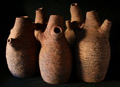 _bottle tree series_, 2009, stoneware ceramics, oxides, pieces between 70cm-60cm(h)x40-30(w), photographer -  Cathy Keys