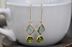 Mint Green Glass and Peridot Green Wire Earring, Mint Green bridesmaid earrings.bridesmaids jewelry. Wedding jewelry. Bridal earrings. by JewelrybyXinyiMartin on Etsy
