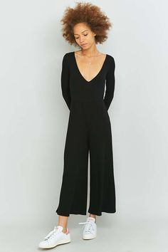 Sparkle & Fade Long Sleeve Black Culottes Jumpsuit