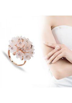 Anillo Calidad superior genuina cristal austriaco anillo grande de flor chapado en oro rosa