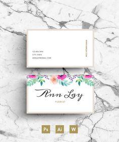 Ann Lay Digital Template - Flowers - Résumé - Business card - Cover letter - Call Card - Editable PSD File - Fonts Included - Digital Goods