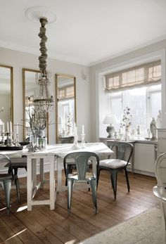 Skonahem - Swedish design with soft gray walls paint color, gold leaf mirrors, white ...