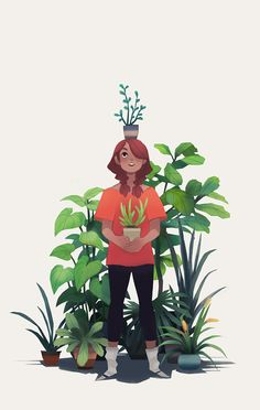 girl and plant make some new friends