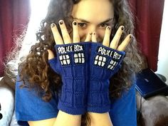 TARDIS Fingerless Gloves pattern by honest puck ($3.00)