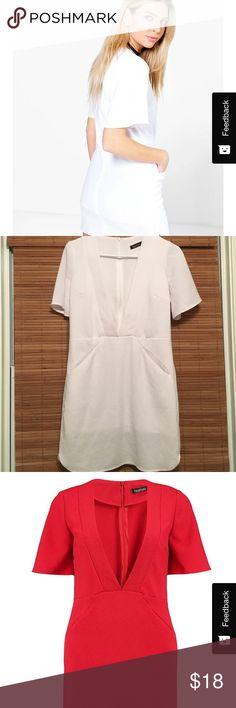 WHITE shift dress White plunge shift dress. With pockets !! Dresses