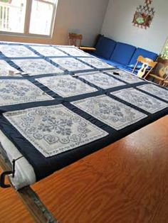 Stunning Blue White Embroidered Amish Quilt 80x103