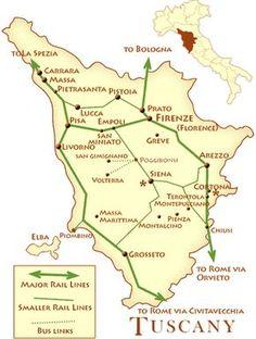 Mapa das linhas de comboio na Toscana Itália