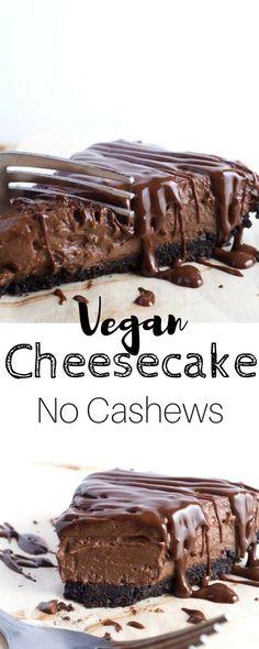 Vegan Cheesecake - Vegan Chocolate Pie - This is Probably one of. Vegan Cheesecake - Vegan Chocolate Pie - This is Probably one of the easiest and most satisfying cheesecakes out there. No Cashews. Not Frozen. Just Awesome! Vegan Treats, Vegan Foods, Vegan Dishes, Vegan Dessert Recipes, Healthy Desserts, Vegetarian Recipes, Healthy Baking, Fromage Vegan, Dessert Oreo