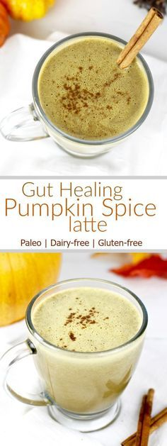 Gut Healing Pumpkin Spice Latte | Kick the sugary coffee drinks to the curb and wrap your hands around a warm mug of our Gut-healing Pumpkin Spice Latte. | Dairy-free | Gluten-free