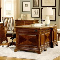 Emery Park Ethan 66-inch Curved Executive Desk with Office Chair (Executive Desk and Chair), Brown