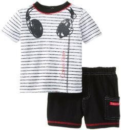 Amazon.com: Calvin Klein Baby-Boys Newborn Stripes Tee with Short Headphones: Clothing