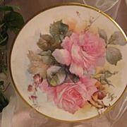 SOLD 'PINK ROSES' LIMOGES FRANCE MASTERPIECE Antique Hand Painted Plate Signed by M. BLANCHE L
