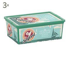 Set de 3 cajas de almacenamiento Fast Food - S