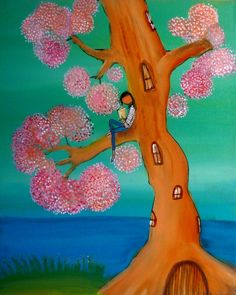 Pink Tree Reader - Archival Print. $ 25.00, via Etsy.