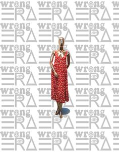 1990s Express red maxi dress with daisies