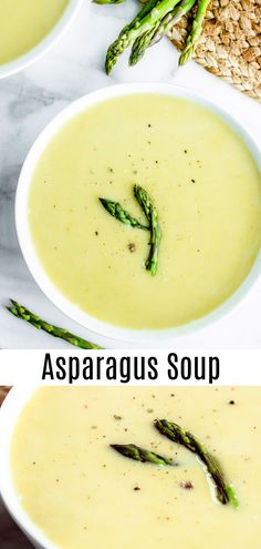 This easy Creamy Asparagus soup is a healthy low carb, keto soup that is perfect for spring! Asparagus, cream, and a splash of lemon juice make this light, bright soup a great addition to your Easter Best Asparagus Recipe, Creamed Asparagus, Grilled Asparagus Recipes, Baked Asparagus, Fresh Asparagus, Best Cream Of Asparagus Soup Recipe, Salmon Recipes, Cheap Clean Eating, Soup Recipes