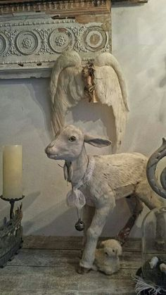 Salvaged shelf.  Love the lifelike sheep in the front.