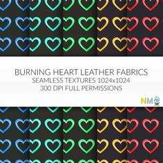Burning Heart Full Perm Leather Design Textures Seamless