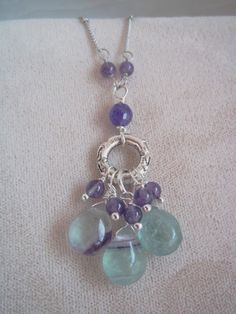 Pendant Necklace Rainbow Fluorite Cluster with Amethyst Dangles